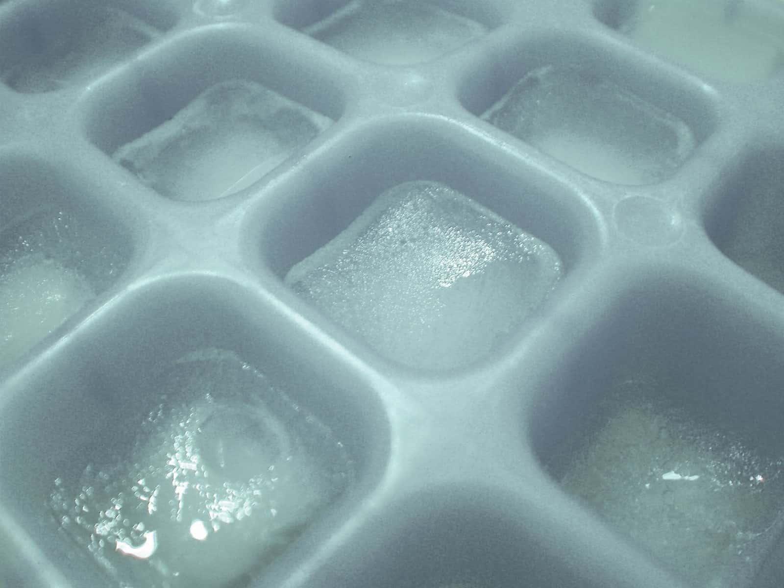 aloe gel frozen in ice cube tray
