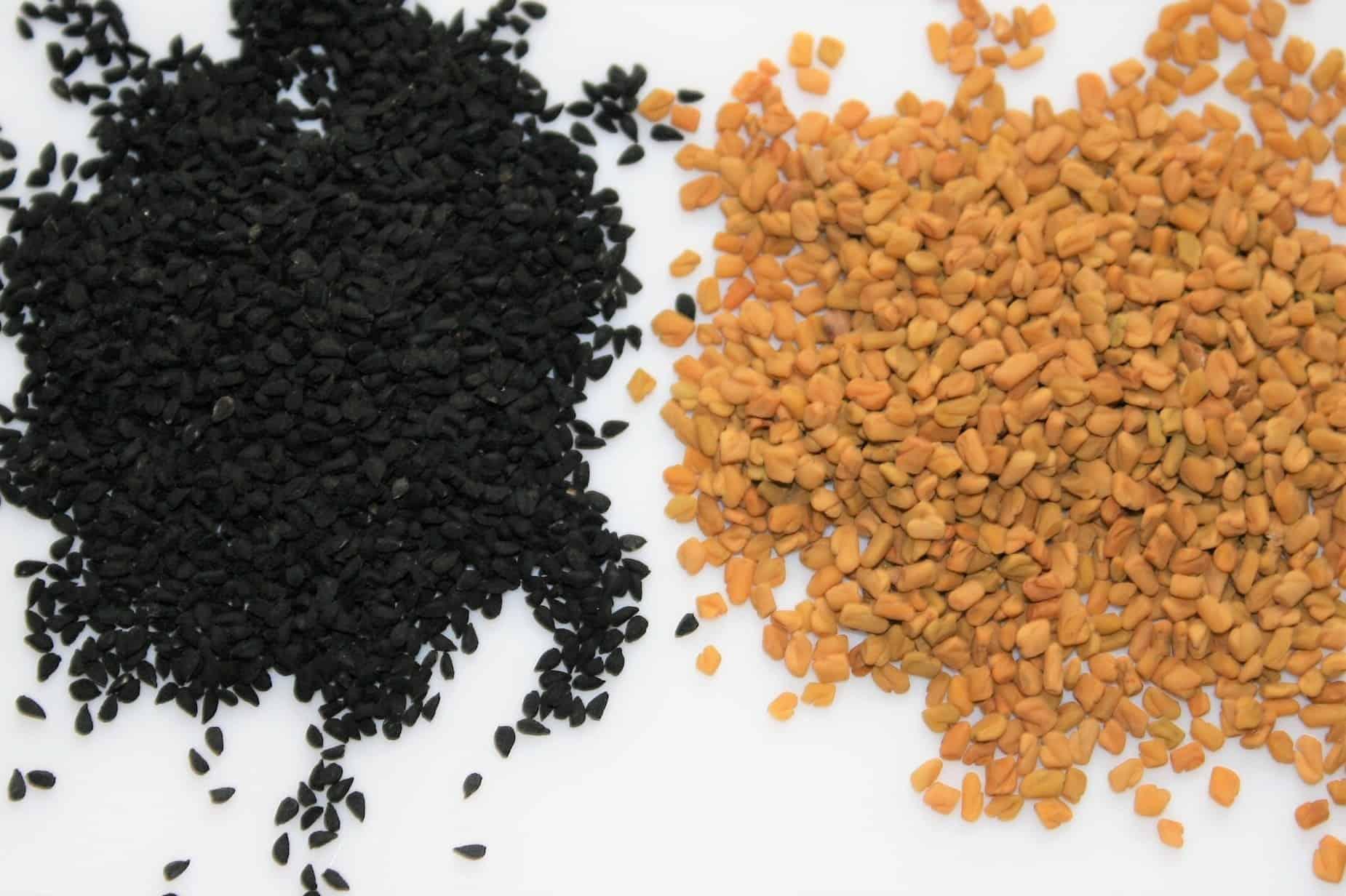 Black seeds and fenugreek seeds