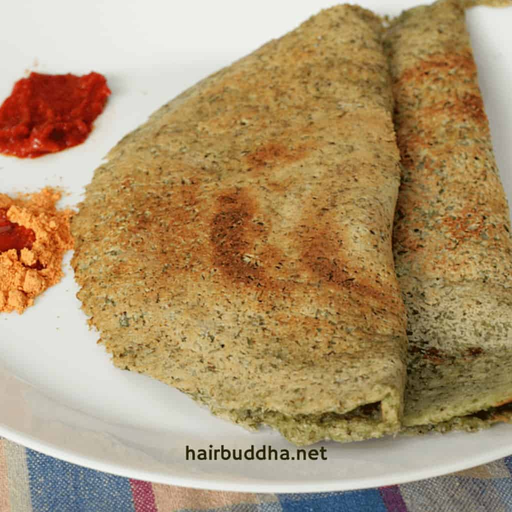 mung dosa with chutney